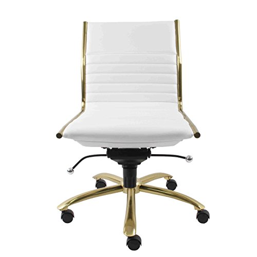 Euro Style 10676WHT Dirk Armless Low Back Office Chair, White/Brushed ()