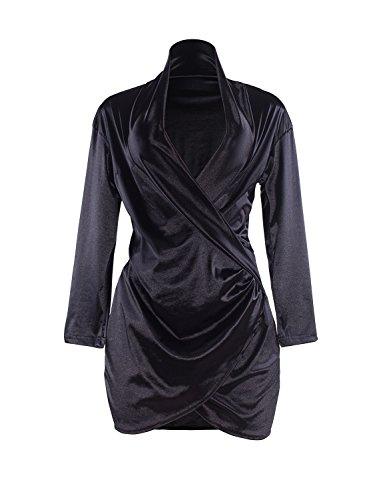 Sedrinuo Sexy Long Sleeve Deep V Neck Club Mini Dresses For Women, Black, 8/10]()