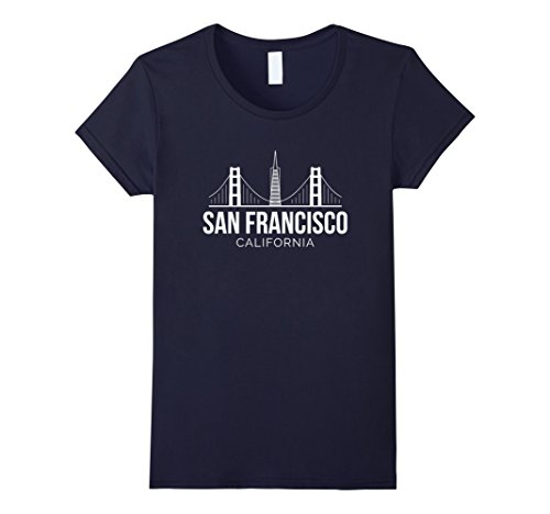 Womens San Francisco SF Bay Area California Skyline T Shirt Large - Francisco Gift Center The San
