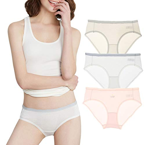 Eve's temptation Emilia Bikini Cotton Panties Seamless Low Rise Hipster 3 Pack Assorted Colors X-Large
