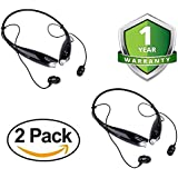 Zaptin Pack of Two HBS-730 Neckband Bluetooth Headphones Wireless Sport Stereo Headsets Handsfree with Microphone for Android, Devices