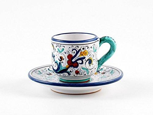 Hand Painted Italian Ceramic Espresso Cup & Saucer Ricco Deruta Blu - Handmade in Deruta