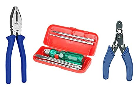 Real stf Multi Hand Tool Kit 8 Pc, Combination Cutting Plier 8, 6 Pc. Set of Screw Driver Kit, Wire Stripper 6