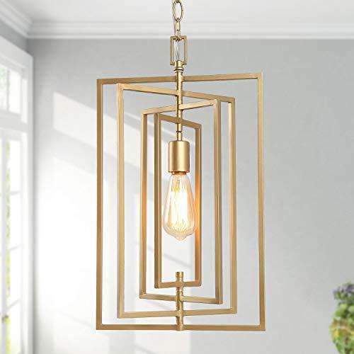 KSANA Gold Chandelier, Pendant Lighting for Kitchen Island with Adjustable Framework, W12″xH20.4