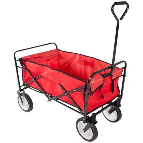 Crazyworld Folding Cart,Outdoor Garden Cart Beach Heavy Duty Collapsible Utility Shopping Wagon,Hold 220lbs,Sturdy Portable Tool for Kids,41-1 3 Height x 35 Length x 21-1 3 Width,Red