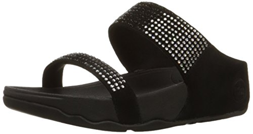 FitFlop Women's Flare Slide Sandal,Black,10 M US