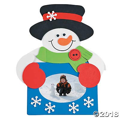 50 pc-Snowman Picture Frame Magnet Foam Craft Kit-Classroom Activity Class Bulk Pack
