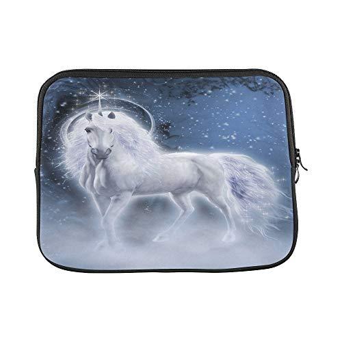 Design Custom White Unicorn Galaxy Stars Dark Blue Sleeve Soft Laptop Case Bag Pouch Skin for MacBook Air 11