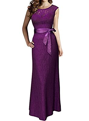 Miusol Women's Elegant Floral Lace Wedding Bridesmaid Maxi Dress
