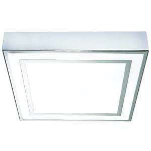 Yona bathroom ceiling light square chrome fitting energy efficient 22w bulb for Square bathroom ceiling light