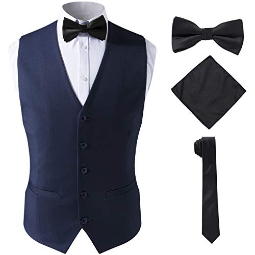 SuiSional Men's 4pc Classic Jacquard Suit Vests with Tuxedo Necktie Handkerchief Bowtie Set