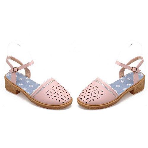 AllhqFashion Women's PU Solid Buckle Closed Toe Low-heels Sandals Pink HxfLRDr
