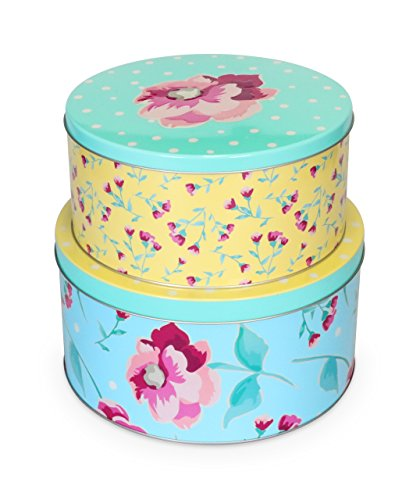 Fanci Baking by Captivate Brands FNRTINSET Cake Storage Tin, Large/Small, Assorted by Fanci Baking by Captivate Brands