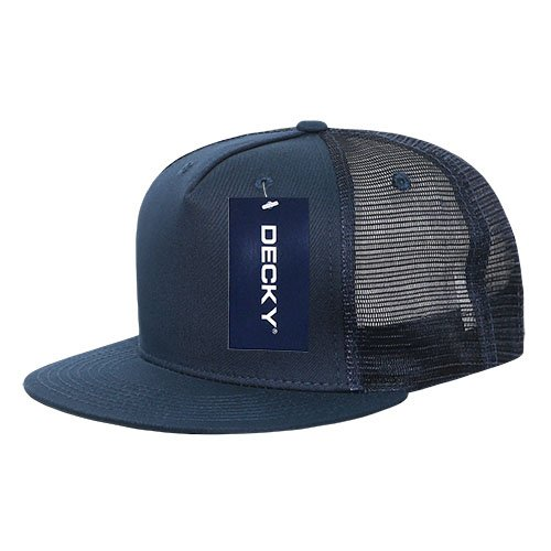 DECKY 1040-NVY Classic 5 Panel Cot. Trucker Caps, (Cot Panel)