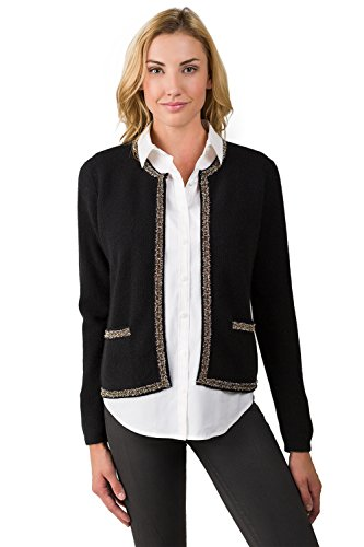 J CASHMERE Women's 100% Cashmere Long Sleeve Lace-trim Crop Cardigan Black Medium by J CASHMERE