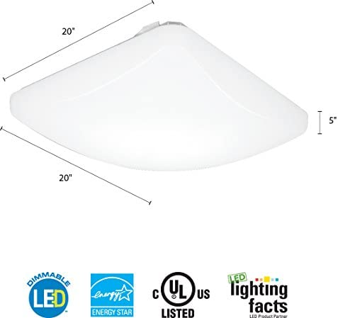 Lithonia Lighting Fmlsdl 20 35840 M4 20 Inch Dimmable Led Square Flush Mount 4000 Lumens 120 Volts 44 Watts Damp Listed White