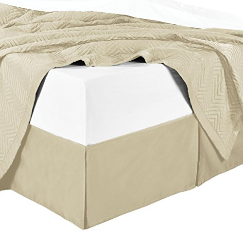 sheetsnthings Microfiber Bed Skirts (14 inch Drop) -California King Size, Solid Beige- Pleated Tailored Bedskirts with Split Corners