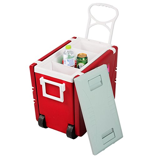 CHOOSEandBUY Multi Functional Rolling Picnic Cooler w/Table & 2 Chairs - RED by CHOOSEandBUY (Image #4)