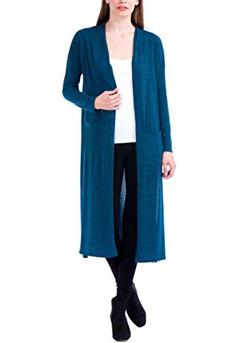 Modern Kiwi Kenzie Long Knit Open Duster Cardigan Teal ()