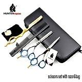 5.5 inch professional hair scissors set hot haircut scissors hair cutting thinning scissors barber left hand shears scissor set with bag