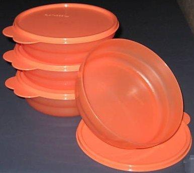 Orange Peel Cereal Bowls - Tupperware Impressions Microwave Cereal Bowls Tangerine