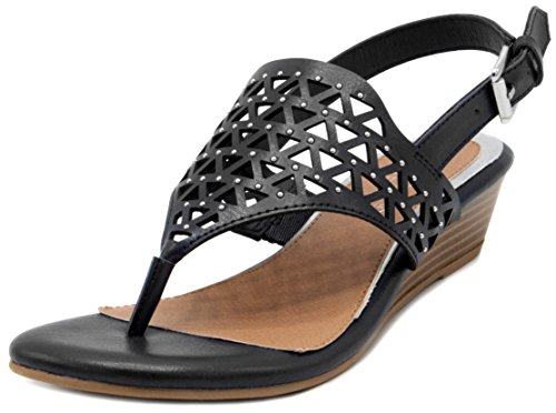 Rampage Women's RAM-Sachin Wedge Sandal, Black Burnish, 9.5 M US (Sandals Wedge T-bar)