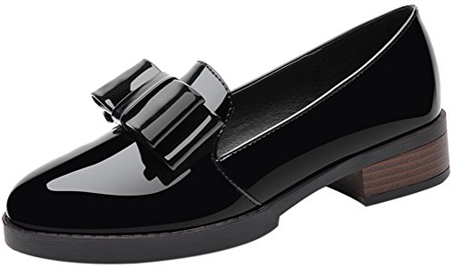 Women's Round Toe Flat Loafers London Casual Shoes Black - 4