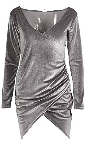 Club Dress Neck Womens Gray Sleeve Long Cruiize V Cross Sexy Velvet Deep xBTwqzfHp