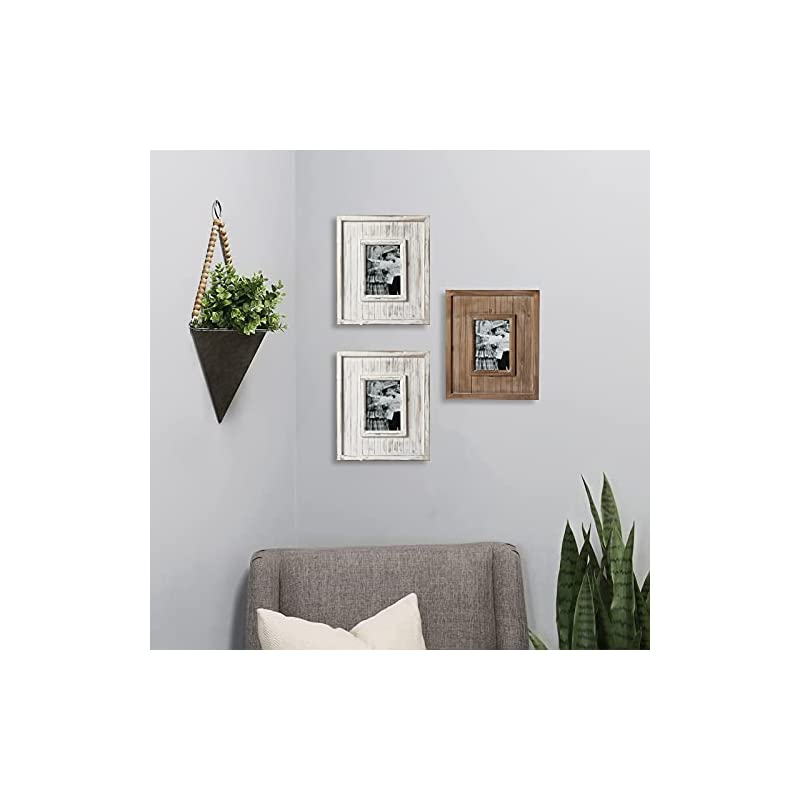 Rustic Large White Picture Frames 5 x 7, Handmade Photo Frame Distressed Wood Farmhouse Big Table and Wall Frame with…