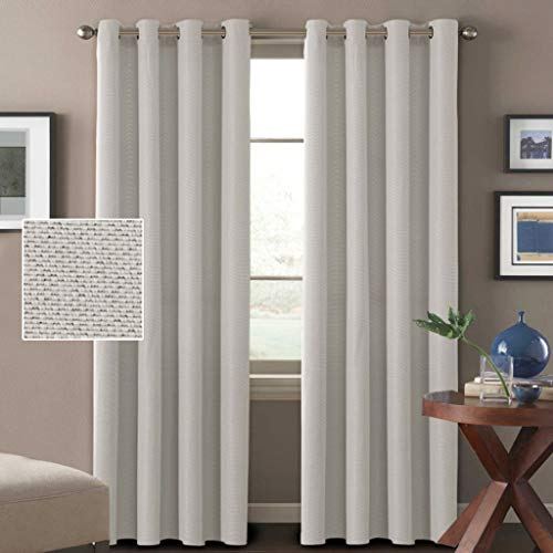 H.VERSAILTEX Linen Curtains Natural Look Thermal Insulated Grommet Room Darkening Rich Linen Curtains Window Treatment Panels for Bedroom/Living Room Burlap Effect, Off White, 52 by 96 Inch, 1 Pair