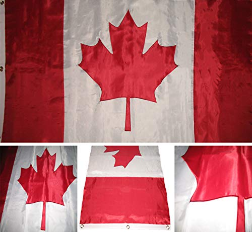 ALBATROS 8x12 ft Embroidered Sewn Canada Canadian Nylon Flag 8inx12in Grommets for Home and Parades, Official Party, All Weather Indoors Outdoors