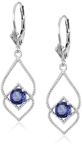 Created Blue Sapphire Delicate Fashion Leverback Dangle Earrings in Sterling Silver by Amazon Collection
