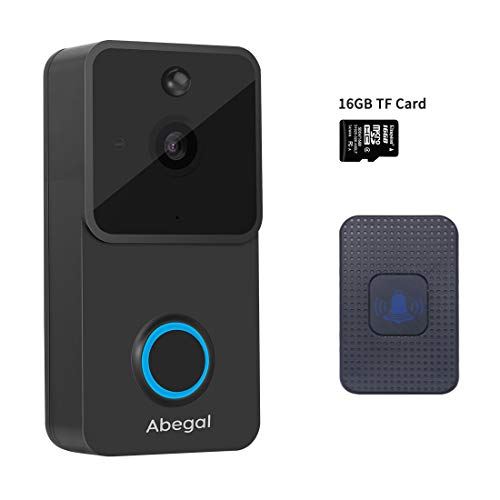 Abegal Wireless Video Doorbell, 1080P Full HD WiFi Smart Doorbell with Chime & 16GB SD Card, Two-Way Audio Night Vision PIR Motion Detection Home Security System Doorbell (Black)