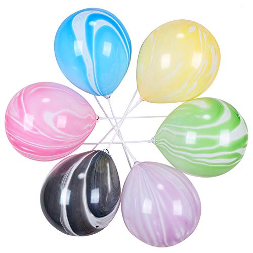 - Pack of 60pcs Multicolor Agate Marble Colorful Balloons for Party Wedding Decoration, 10 Inch (Multicolor)
