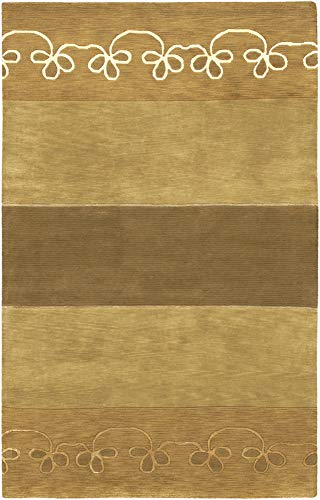 - Vestal Solid Stripes 2' x 3' Rectangle 100% Semi-Worsted New Zealand Wool Black/Dark Brown/Camel/Tan Area Rug
