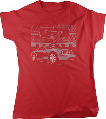 (Ford Mustang and Grill, Pony Logo Grill Women's T-shirt, NOFO Clothing Co. S Red)
