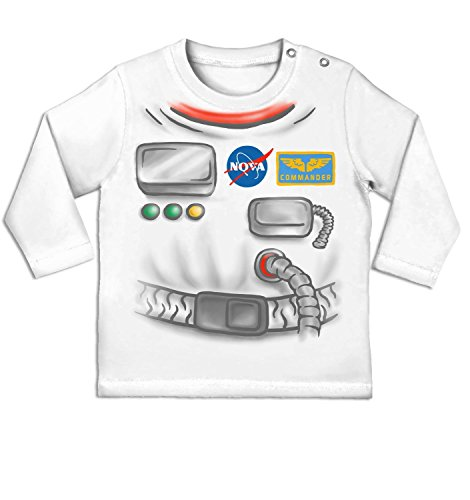 [Astronaut Costume Long Sleeve Baby T-shirt - White 0/6 Months] (Spaceman Suit Costume)