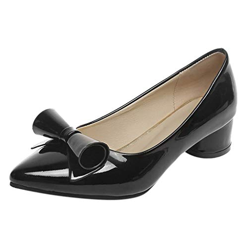 Cenglings Woman's Casual Patent Leather Point Toe Slip-On Work Shoes Low Chunky Heel Pumps Ladies Bow Shallow Shoes Black