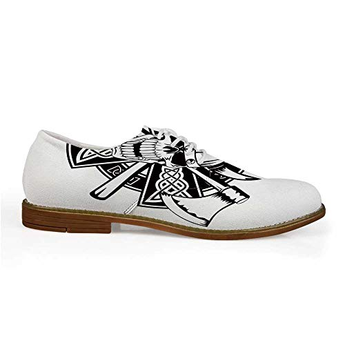 Celtic Stylish Leather Shoes,Celtic Skull Knight with Cross Axes and Knives Medieval Europe Iron Age Graphic for Men,US 8