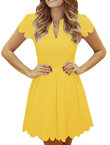Sidefeel Women Sweet Scallop Pleated Vintage Ruched Dress X-Large Yellow