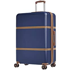 Travel Junkie 412eI9Y-qlL._SS247_ Amazon Basics Vienna Spinner Suitcase Luggage - Expandable with Wheels - 30.7 Inch, Blue