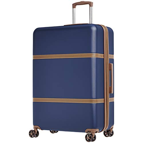 AmazonBasics Vienna Luggage Expandable Suitcase Spinner, 28-Inch, Blue