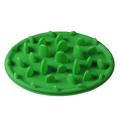 Sundlight Interactive Slow Feeder Dog and Cat Bowl for Fast Eaters,Non-slip Bottom,Food Grade Silicone Anti-gulp Dog Bowl,Green,Size S