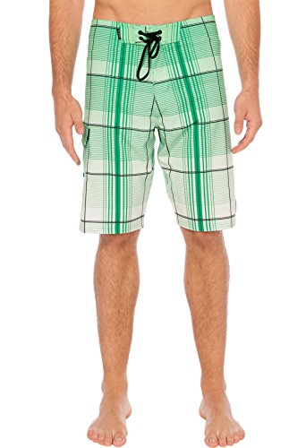 Silwave Men's Durafit Stretch Plaid Boardshort, Mint, 30