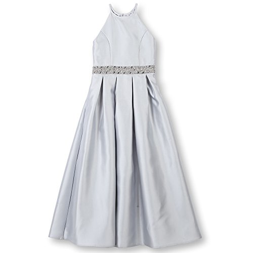 (Speechless Girls' Big Full-Length High-Neck Formal Dance or Party Dress, Silver)