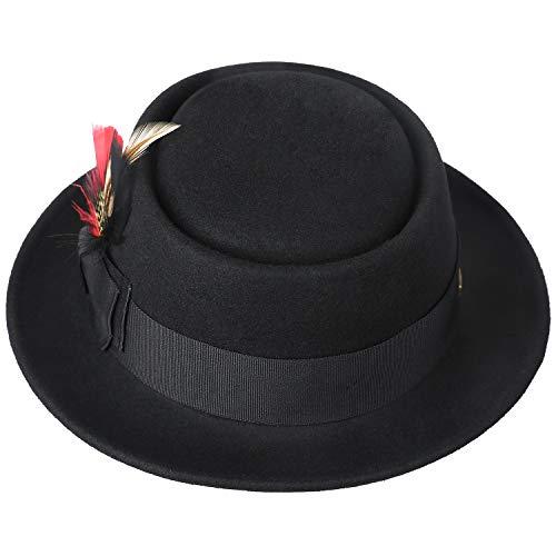 a8e20ad477d902 Amazon.com: Sedancasesa Men's Dress 100% Wool Felt Flat Top Pork Pie Fedora  Hats W/Feather: Clothing