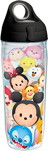 Tervis 1231222 Disney - Tsum Tsum Stack Tumbler with Wrap and Black with Gray Lid 24oz Water Bottle, Clear