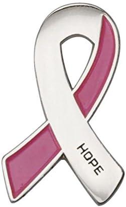 GuDeKe ユニセックス アウェアネスリボン HOPE 【乳がん:シルバー&ピンクリボン】 ブローチ ラペルピン バッジ
