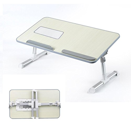 BYIA Adjustable Laptop Table, Portable Standing Bed Desk, Foldable Sofa Breakfast Tray, Notebook Stand Reading Holder for Couch Floor - Minitable Honeydew ()