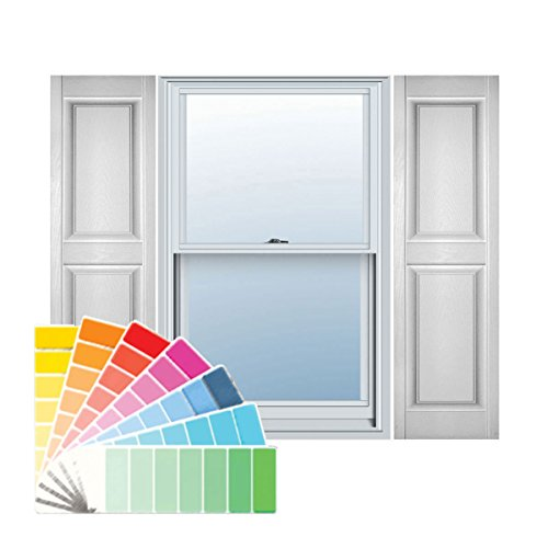 Paintable Raised Panel (Ekena Millwork LP2S14X05500PG Lifetime Vinyl, Standard Two Equal Panels, Raised Panel Shutters, w/ Installation Shutter-Lok's & Matching Screws (Per Pair), 14 3/4